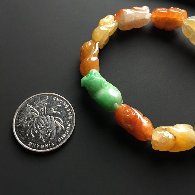 多彩灵猴翡翠手链 单个16-10-7毫米图5