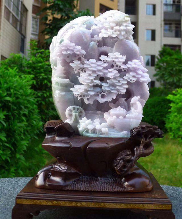 230.180.80寸冰糯浅紫色 高山流水翡翠摆件图5