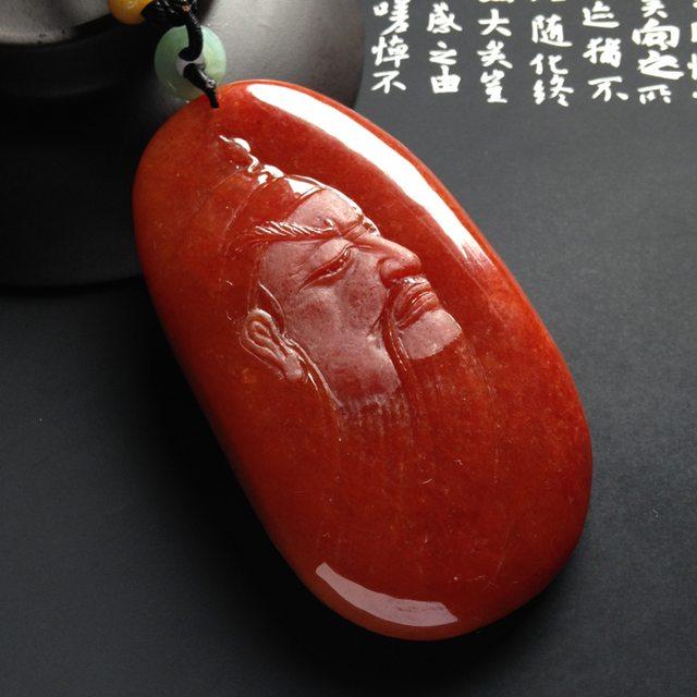 巧雕红翡关公翡翠吊坠  尺寸75-42-13毫米