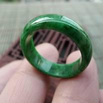 19*6.5*3mm冰油种飘绿花戒指 缅甸天然翡翠戒指