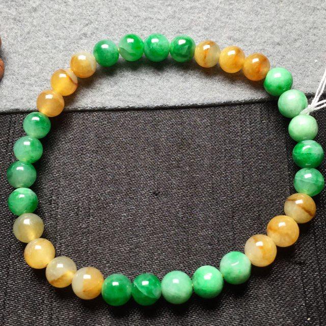 黄加绿天然翡翠手串6图7