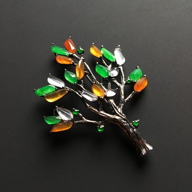 三彩圣诞树 翡翠胸针 整体尺寸49-36-7毫米图4