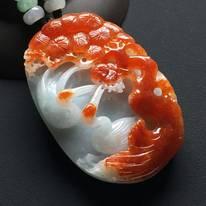巧雕红翡 松鹤延年翡翠吊坠 尺寸:61-40-17毫米