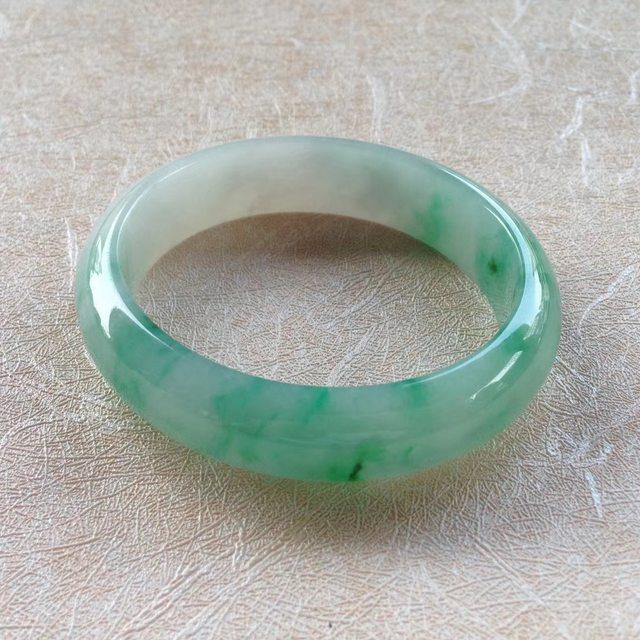 飘阳绿花翡翠手镯 54.3-48.5-14.2-7mm