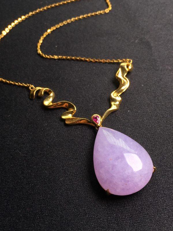 冰紫蛋水滴形翡翠项链
