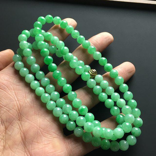 阳绿天然翡翠项链 直径7毫米图7