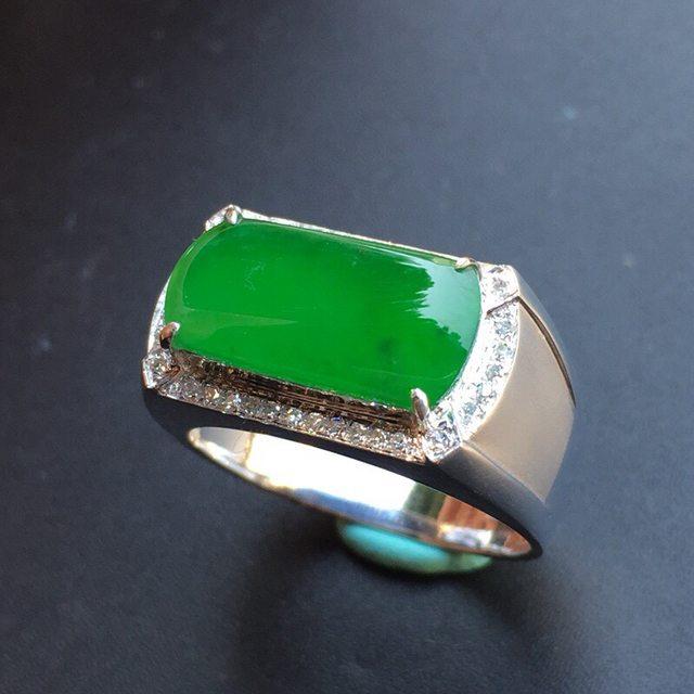 冰种飘阳绿马鞍 翡翠戒指