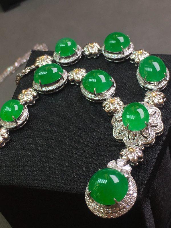 冰种满绿天然翡翠项链