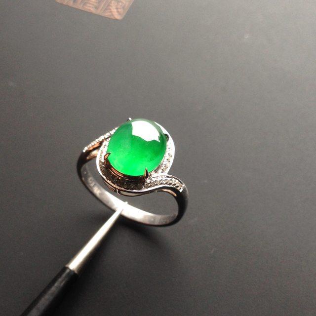 冰种阳绿女戒 翡翠戒指 9-8-3毫米