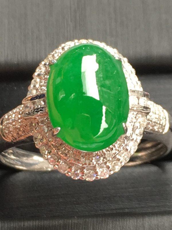 冰糯种满色 缅甸天然翡翠18k金伴钻戒指