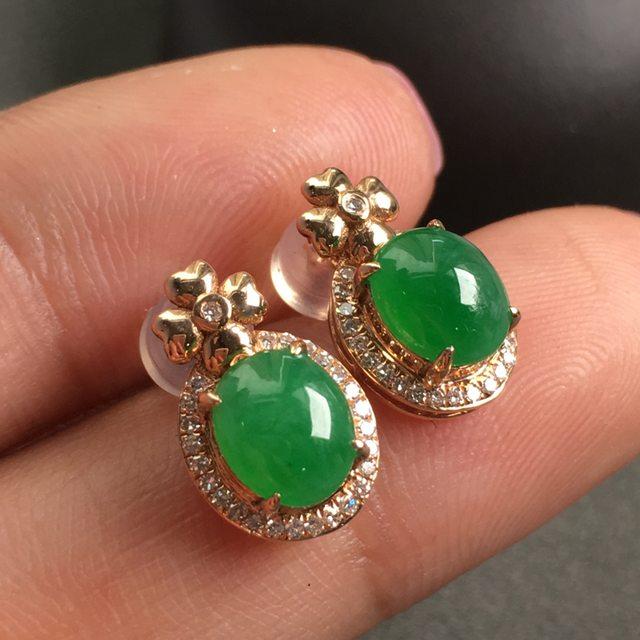 冰種陽綠 翡翠耳釘