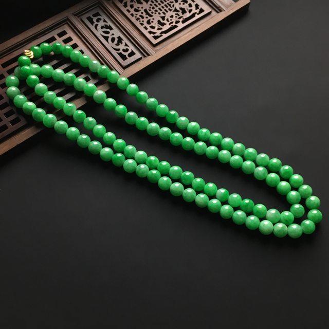冰润阳绿天然翡翠项链 直径7毫米图1