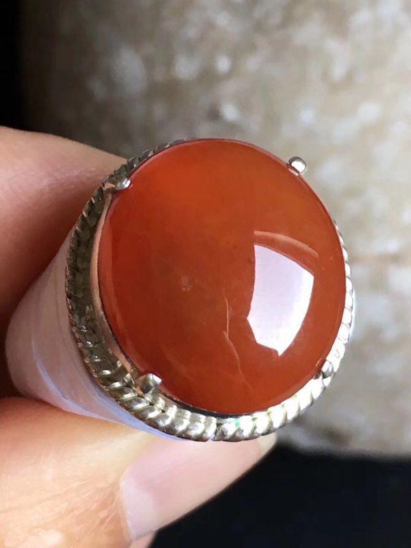 老坑冰种 红翡 缅甸天然翡翠戒指17.7-16-6.4mm
