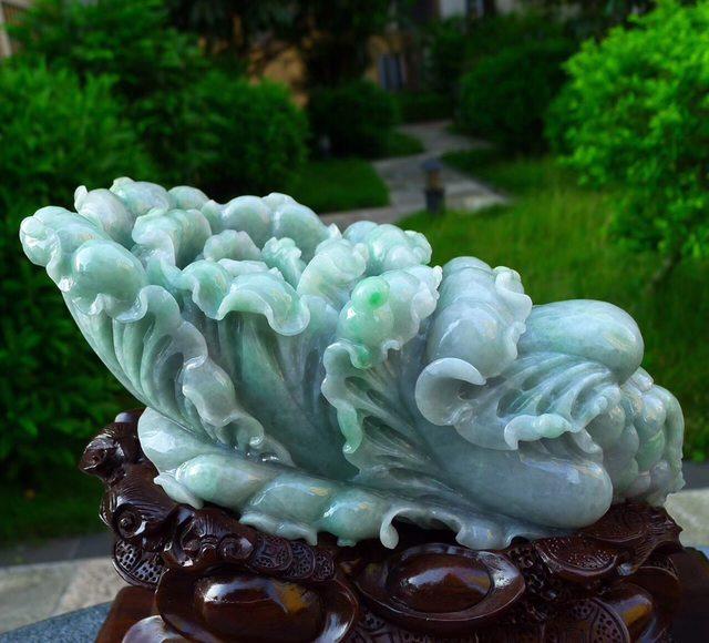 300.260.140寸精美飘绿 翡翠白菜摆件图2
