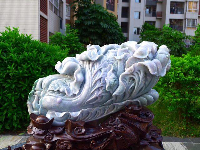 440.520.190寸水润春彩翡翠超大件白菜摆件图2