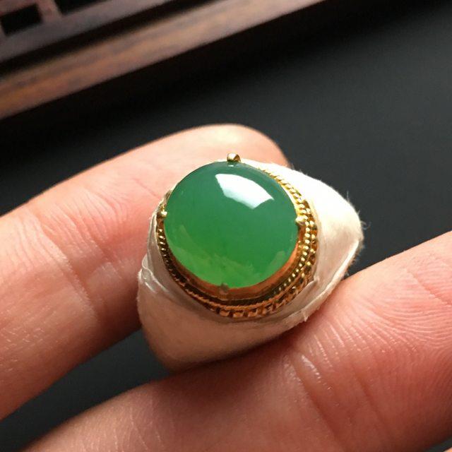 11-11-4寸冰种晴绿 缅甸天然翡翠戒指