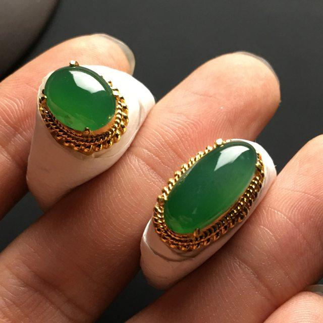 冰种晴绿 缅甸天然翡翠戒指 11-8.5-4.5*15.5-7.5-5毫米