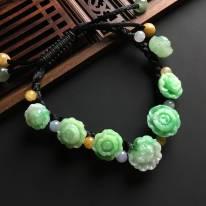 单个尺寸14-14-7寸带色翡翠花开富贵手链