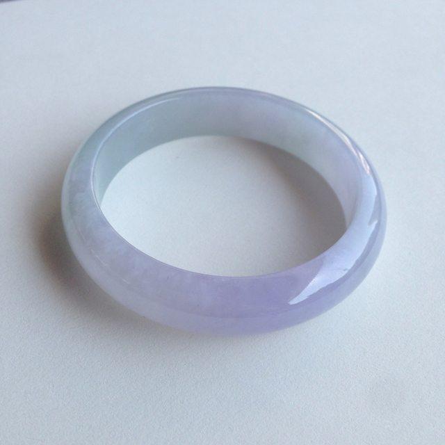 56.4圈 冰糯紫色正圈翡翠手镯