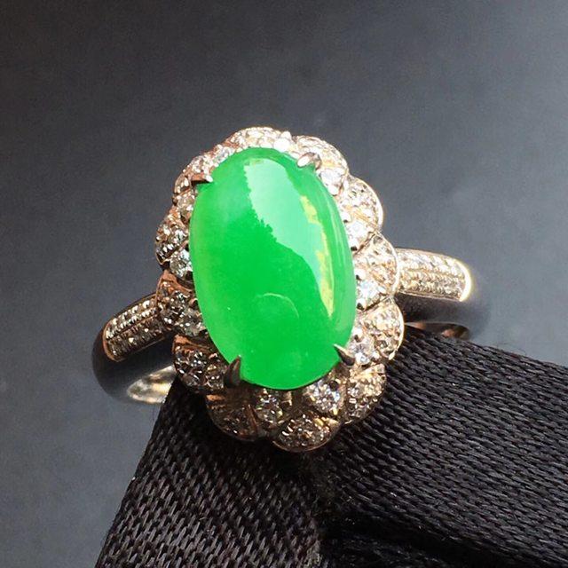 冰种阳绿蛋面 缅甸天然翡翠戒指 圈口可改