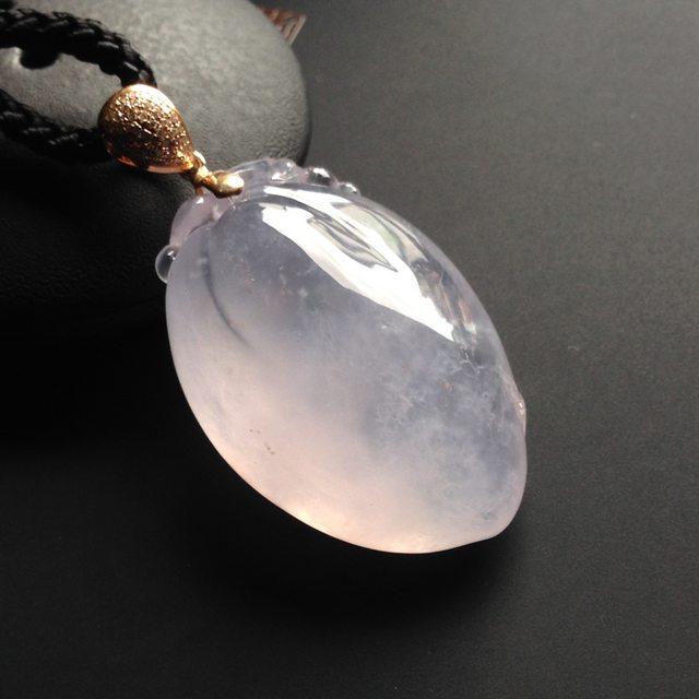 高冰种粉紫福瓜 翡翠吊坠 裸石36-24-13毫米