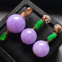 冰紫圆珠套装 翡翠耳坠 12mm15mm
