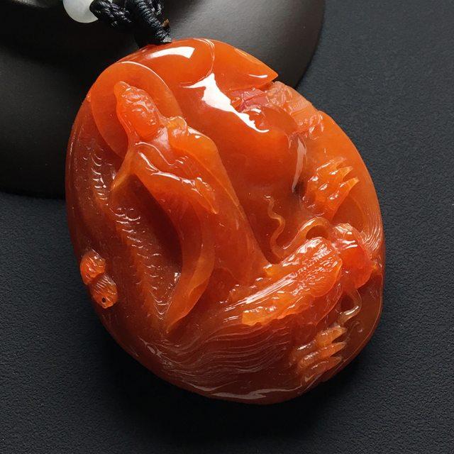 糯冰种红翡吊坠 尺寸:53-44-15.5毫米