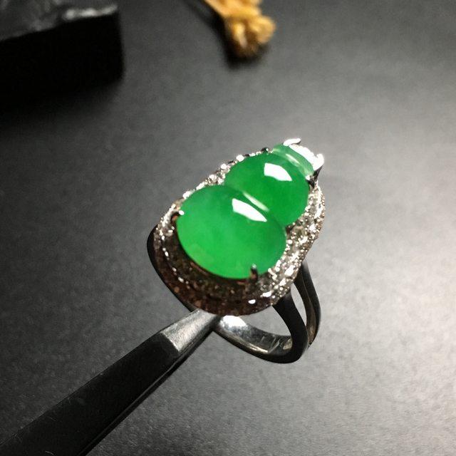 冰种阳绿葫芦 缅甸天然翡翠戒指