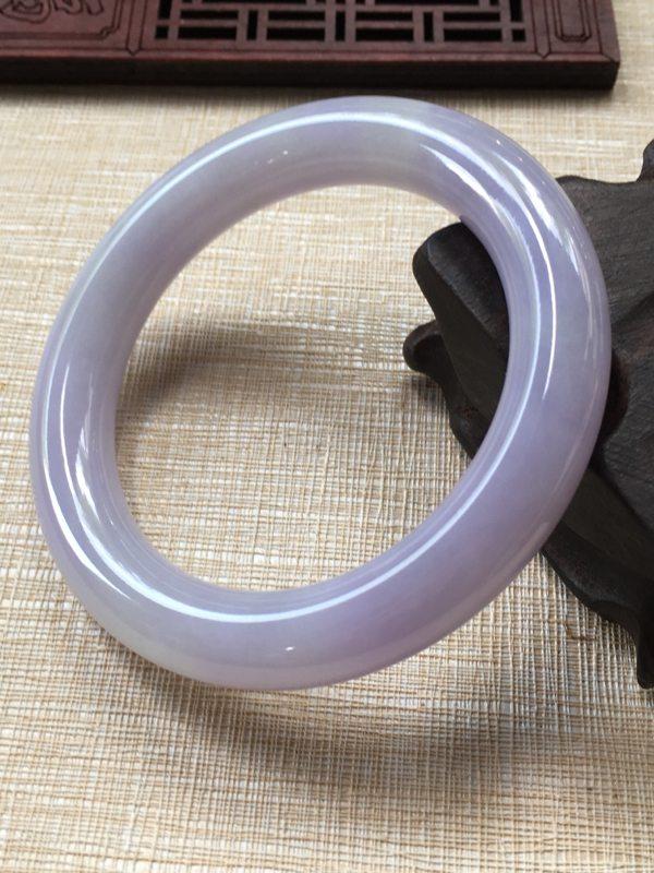 翡翠手镯A货  54.2糯种紫罗兰翡翠手镯