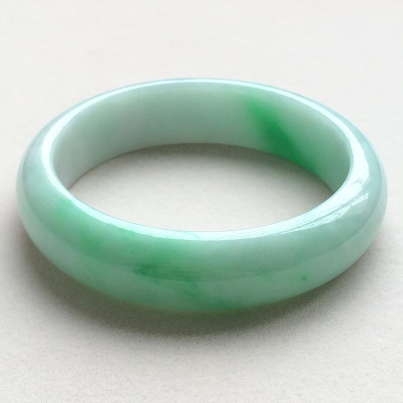 糯种阳绿天然翡翠扁管手镯13(55.2mm)