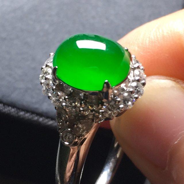 高冰正阳绿戒指 缅甸天然翡翠戒指
