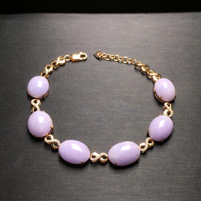 紫罗兰圆蛋天然翡翠手链 10.6*6.7mm