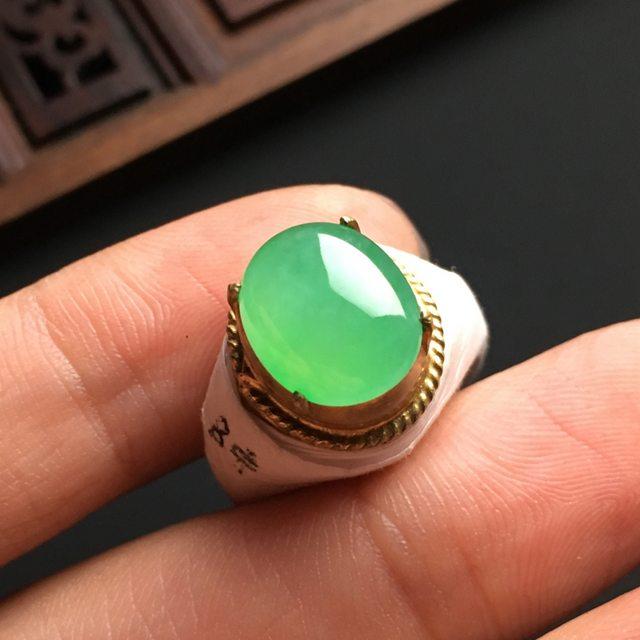 12-9.5-4.8寸冰晴水苹果绿 缅甸天然翡翠戒指