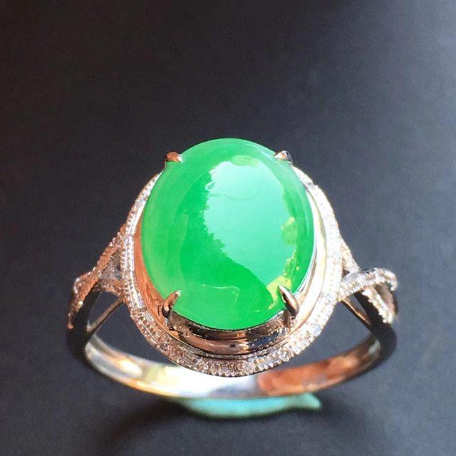 冰种满色 缅甸天然翡翠戒指大小10.8*9.1*4mm