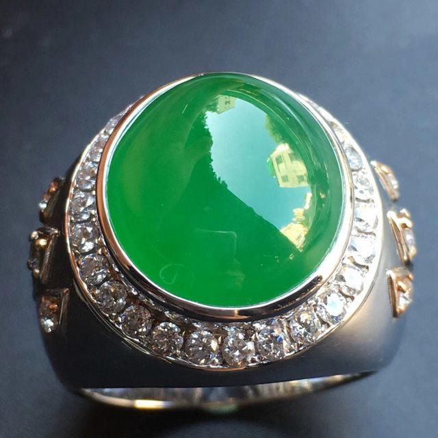 冰种阳绿 缅甸天然翡翠戒指大小15*16.4*7mm