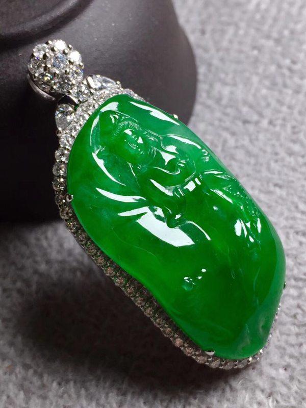 冰阳绿观音 翡翠挂件 裸石尺寸36.2*18.5*6