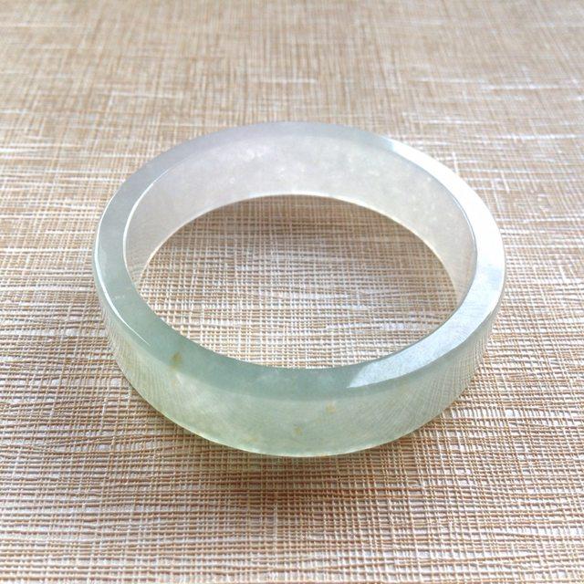 冰种晴水翡翠手镯 缅甸天然翡翠平安镯  尺寸:46.2寸