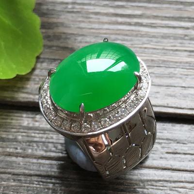 冰种满绿蛋面 18k金镶钻天然翡翠戒指