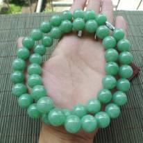 满色苹果绿翡翠项链 取一13.5mm