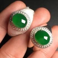 冰种满绿一对 缅甸天然翡翠戒指