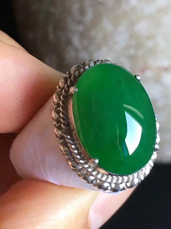 老坑冰种阳绿色 翡翠戒指15.3-11.4-4.8mm