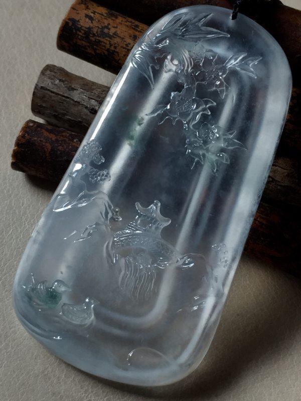 玻璃种山水牌翡翠挂件 竹外桃花三两枝春江水暖鸭先知 尺寸60*31.5*7