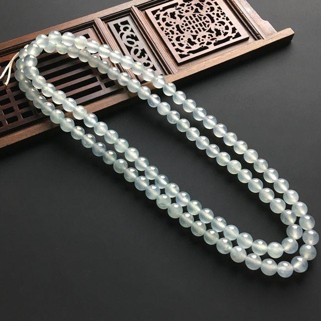 冰种天然翡翠佛珠项链 直径7毫米