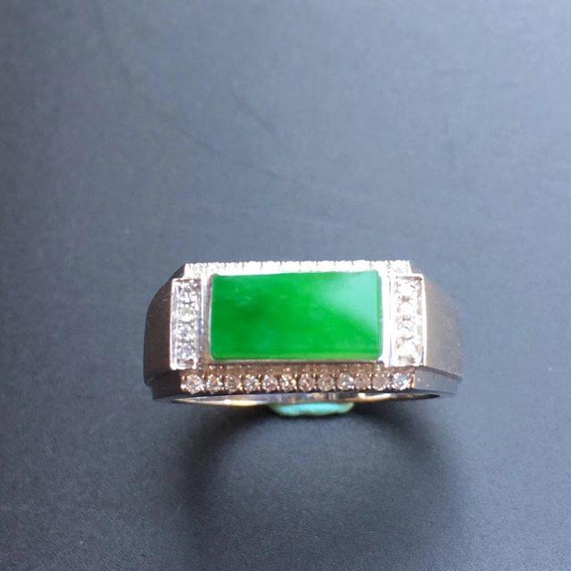 冰种阳绿马鞍 缅甸天然翡翠戒指大小10.6*5.3*3mm