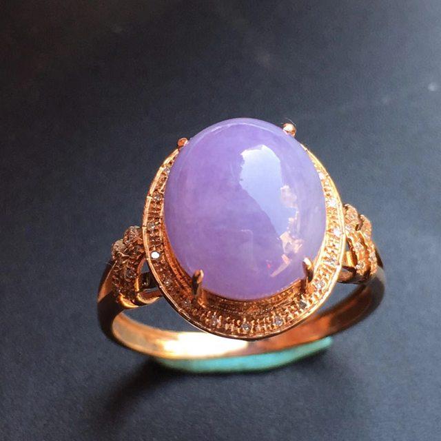 冰种紫罗兰 缅甸天然翡翠戒指大小10.9*9.2*5mm