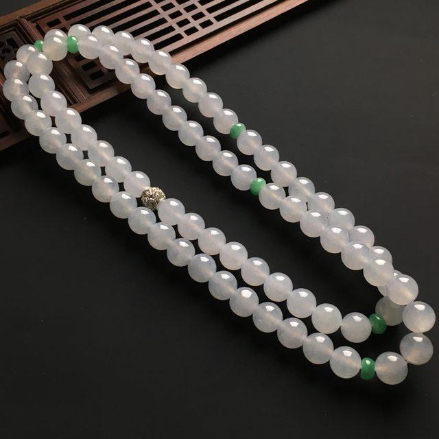 白冰佛珠天然翡翠项链 直径9.6mm