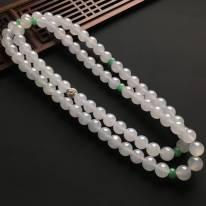 白冰佛珠天然翡翠項鏈 直徑9.6mm