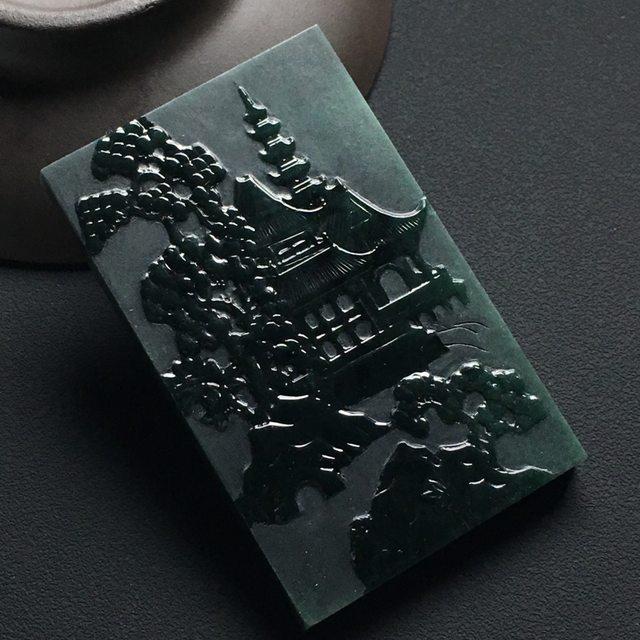 墨翠深山藏古寺翡翠挂件 尺寸:59-36-5.3毫米