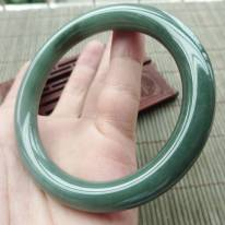 冰油滿色翡翠手鐲  緬甸天然翡翠圓條手鐲 尺寸57.3-9.3mm