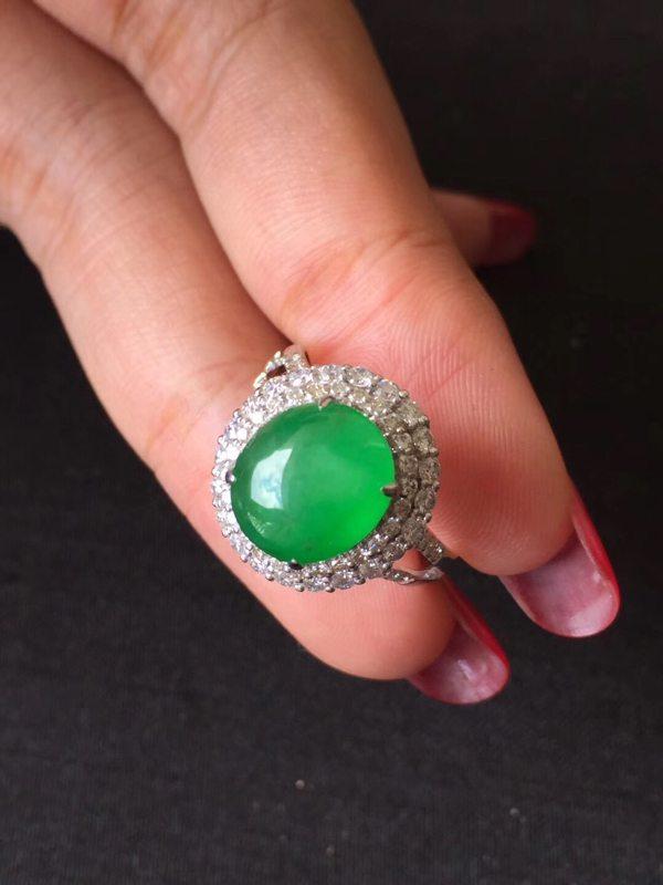 冰种起光艳阳绿 缅甸天然翡翠戒指